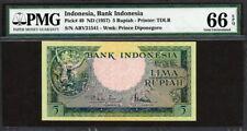Indonesia 1957, 5 Rupiah, ABV21541, P49, PMG 66 EPQ GEM UNC