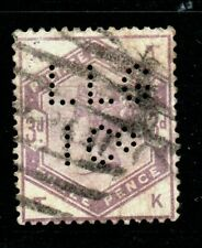 Gb Victorian Fine Used Sg191 3d Lilac Position Tk Perfin