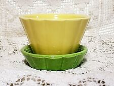 Vintage Shawnee Pottery Yellow/Green Flower Pot With Attached Saucer USA 533