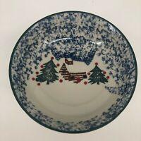 SET of 4 - Folk Craft Cabin in the Snow Tienshan Cereal Salad Soup Bowls Ceramic