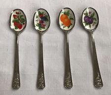 Avon Natures Best Demitasse Spoons Set 4 Stainless Enamel Bowl Fruit Vintage