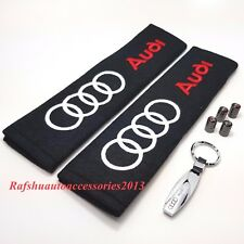 Audi Key Ring + Seat belt cover pads + Tyre valve dust caps tt a3 s3 a4 a5 q7
