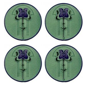 "Ceramic Round blue ring Coasters (Set of 4) 4.25"" Art Nouveau Illustration #4"