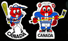 1977 2 VINTAGE TEAM CANADA UNUSED NM HOCKEY LOGO DECAL TEAM STICKERS SZ 3.5X4