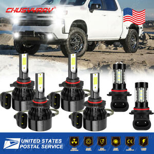 For GMC Sierra 1500 2500 HD 3500 2001-2006 Combo LED Headlight + Fog Light Bulbs