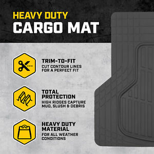 Trunk Cargo Floor Mats for Cars All Weather Rubber Black Heavy Duty Auto Liner