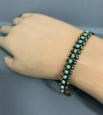 Zuni Pettipoint Turquoise and Tested Silver Vintage Cuff Bracelet Signed Meo