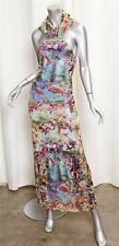 JEAN PAUL GAULTIER SOLEIL Floral Flamingo Halter Sheath Full-Length Maxi Dress L