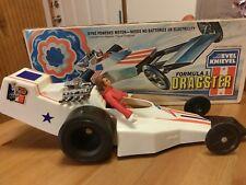 Evel Knievel Formula 1 Stunt Cycle Dragster & Box, Original Evil Figure 70s Toys