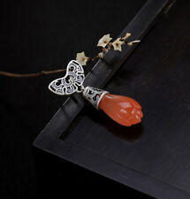 A02 Pendant Magnolienblüte from Red Agate with Bat Silver 925