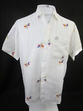 Linen brand vintage 1980s Men shirt sz M-L new wave embroidered primary colors
