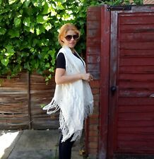 White color bohemian style long vest-poncho/hand knitted woman white top