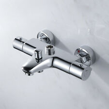 Thermostatic Bathroom Taps Wall Mounted Bath Shower Mixer Valve Twin Outlet Tap