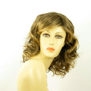 mid length wig for women curly brown wick golden ref FLO 6t24b  PERUK