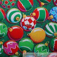 BonEful FABRIC FQ Cotton Quilt Green Leaf Red White Rainbow Xmas Ball Gold Star