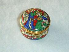 Halcyon Days England Christmas 1998 Musical Angels Hinged Enamel Trinket Box