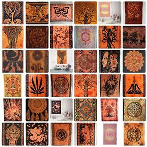 ORANGE COTTON Wall Hanging Poster Small Tapestry Hippie Bohemian Boho Mandala