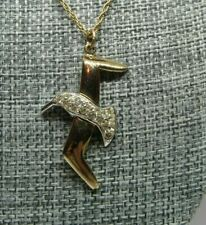 Soaring DOVE Pendant Rhinestones & Gold Tone Chain Necklace Flying Bird