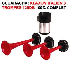 RARE SUPERBE KLAXON ITALIEN 12V 3 TROMPES 130db 100% COMPLET! MYTHIQUE CUCARACHA