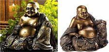 SITTING SMILING GOLD-BRONZY-METALLIC-LIKE FLECK BUDDHA STATUE-SCULPTURE ** NIB