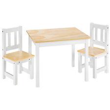Ensemble table et 2 chaises enfants meubles en bois sans accoudoirs pin blanc