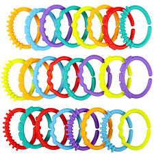 24pcs Plastic Baby Kid Stroller Gym Play Mat Toy Rainbow Teether Ring Links