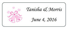 120 BUBBLE LABELS Personalized Pink Bells WEDDING PARTY FAVORS