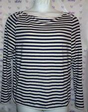 $58 Peck & Peck boat neck button shoulder blouse XL navy blue striped top