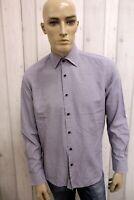 TOMMY HILFIGER Uomo Camicia Chemise Shirt Casual Cotone Manica Lunga Taglia L