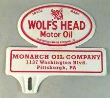 Vtg MONARCH WOLF'S HEAD MOTOR OIL LICENSE PLATE TOPPER Rare Old Advertising Sign