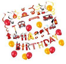Set of 31 Fireman Birthday Banner Firetruck Birthday Banner Firefighter Birth...