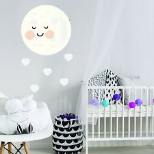KAWAII MOON AND HEARTS CHILDREN'S KIDS BEDROOM WALL STICKER VINYL TRANSFER MURAL