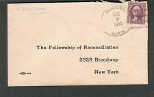 1938 cover H Badke Pastor Osseo/Rogers MN to The Fellowship of Reconciliation NY