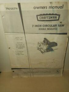Sears CRAFTSMAN 7 Inch Circular Saw Model No. 315.11850 Owners Manual Parts List