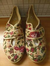 Flora Womens Floral Canvas Touch Fastening Shoes Size 6/39 NEW RRP £19.98 Beige