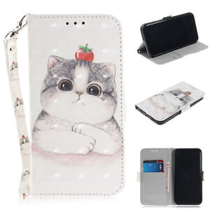 Cute Cat Leather Wallet Flip Stand Strap Case Cover For Android Phone LG SONY MI