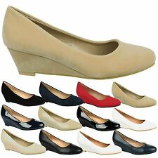 Wendy Womens Low Mid Wedges Heels Slip On Ladies Smart Court Shoes Pumps Size