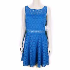 Trixxi Royal Junior Skater Crochet Empire Waist Dress Blue Juniors Size 11 NEW