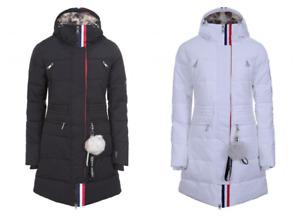 Luhta Inginmaa L7 36-48 Femmes Hiver Manteau Noir Blanc Colonne D'Eau Fourrure