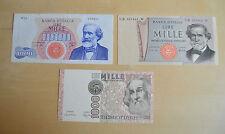 LOTTO 3 BANCONOTE LIRE 1000 MARCO POLO VERDI I E II TIPO numismatica SUBALPINA