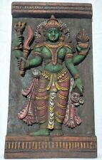 Antique Hindu Godess Kali Devi Hand Carved Wooden Durga Wall Panel Temple Art