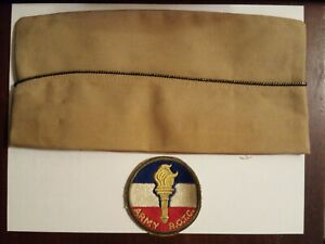 Vintage Original 1950s Khaki Army ROTC Hat And Patch