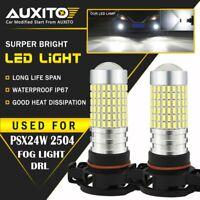 2X 2800LM PSX24W 2504 LED Fog Light Bulb High Power 144SMD Super Bright White EA