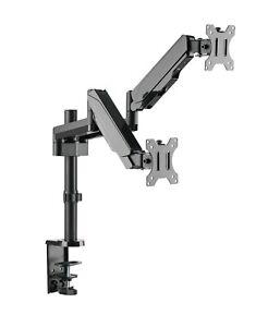 Dual Gasdruck Monitor Schwenkarm Doppel Tisch Halterung 2x8KG Office-GS424