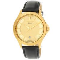 Invicta Men's Watch Specialty Quartz Yellow Gold Case Black Leather Strap 31126