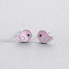 Pink Enamel Bird Stud Earrings for Kids Children Girls Animal 925 Silver Jewelry