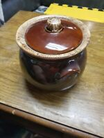 "Vintage HULL Small Crock Bean Pot Brown Drip Glaze Oven Proof USA 4""x4"" Pottery"