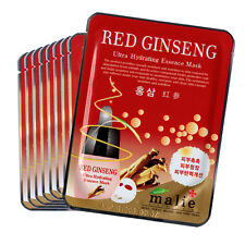 9 PCS Red Ginseng Facial Skin Care Mask Pack Essence Collagen Moisture Malie