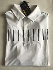 NWT Mens Under Armour Golf HeatGear 30+ UPF Defender Print Polo Shirt White M