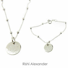 Monogrammed .925 Sterling Silver Link and Bead Bracelet or Necklace All Sizes